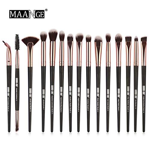 Beauty-Tools,Momoxi 15Pcs Wooden Cosmetic Eyebrow Eyeshadow Foundation Brush Makeup Brushes...