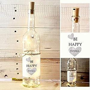 Be Happy, Flaschenlicht mit Name, besonderes Geschenk