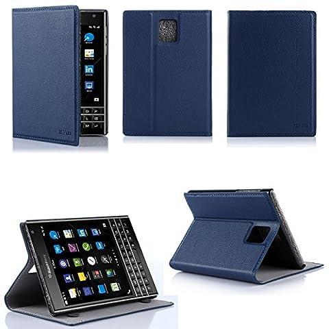 Etui luxe Blackberry Passport Ultra Slim bleu Cuir Style avec stand - Housse coque de protection blanche pour Blackberry Passport - Prix découverte accessoires pochette XEPTIO : Exceptional case !