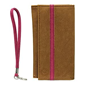 Jo Jo A5 Nillofer Leather Wallet Universal Pouch Cover Case For Samsung Galaxy S5 LTE-A G906S Tan Pink