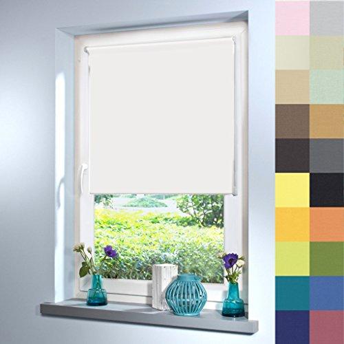 Tageslicht Rollo nach Maß, hochqualitative Wertarbeit, alle Größen und 21 Farben verfügbar, Rollo nach Maß, für Fenster und Türen, blickdicht und lichtdurchlässig, Befestigung durch Schrauben an Wand oder Decke (220cm Höhe x 100cm Breite / Weiß)