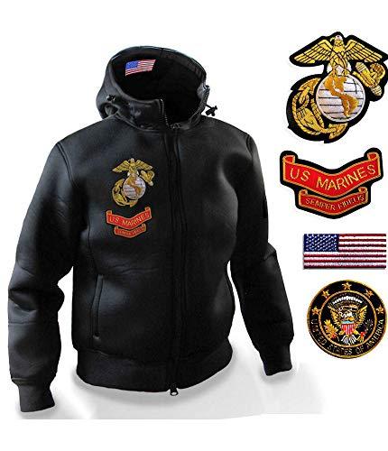 Gen.con. felpa militare americana termica marines, giubbotto cappuccio usa