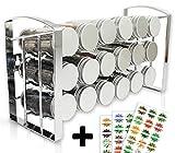 LEANDER DESIGN Gewürzregal für Küchenschrank und Arbeitsfläche, 18 Gewürzgläser, Küchen-Organizer auf 3 Ebenen - Silber