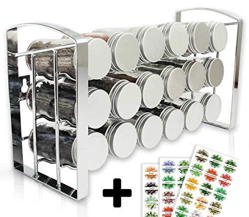 LEANDER DESIGN® Gewürzregal für Küchenschrank und Arbeitsfläche, 18 Gewürzgläser, Inkl 54 Etiketten, Küchen-Organizer auf 3 Ebenen - silber