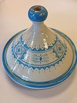 Moroccan Glazed Terracotta Serving Tagine in Assorted Colors (Light Blue) by Moroccan from Moroccan