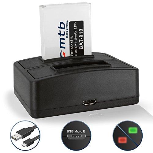 Batteria + Caricabatteria doppio (USB) per Canon NB-5L / IXUS 850 IS, 860 IS… / Powershot S110 (2012), SX200 IS, SX210 IS, SX220 HS, SX230 HS ...v. lista