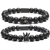 JOVIVI Lavastein Partnerarmbänder König und Königin 8mm Perlen Buddha Armband mit Rechteck Energietherapie Pärchen Geschenk