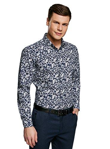 oodji Ultra Herren Hemd Slim Fit mit Druck, Blau, Herstellergröße 43 (Kragenweite 43 cm)/ DE 43 / L -