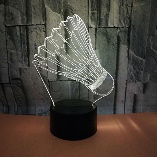 3D Lampe,Badminton 7 Farbwechsel 3D Lampe Touch Schalter 3D Leuchten Weihnachtsgeschenk Für Baby Zimmer Lichter Led Nachtlicht