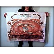 Flat Earth Maps & Poster Prints: Square & Stationary Earth 1892 - Orlando Ferguson (40x30inch)