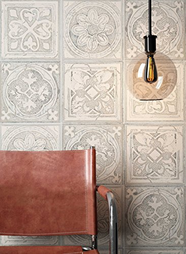 NEWROOM Tapete Grau Fliesen Mosaik Kachel Muster Papiertapete Blau Papier moderne Design Optik Fliesentapete Landhaus inkl. Tapezier Ratgeber