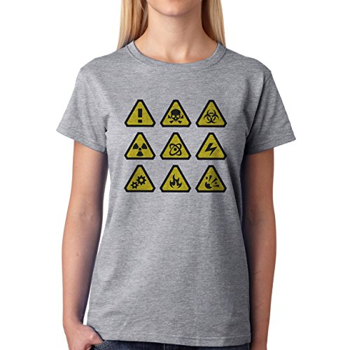 Danger Sign Warning Caution Nine Damen T-Shirt Grau