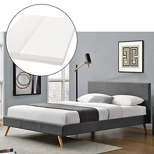 Lattenrost-bett (ArtLife Polsterbett Toledo 140 × 200 cm dunkelgrau | Bettrahmen mit Kaltschaummatratze, Lattenrost & Stoff | Jugendbett Gästebett Bett)