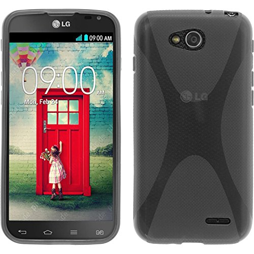 PhoneNatic Case kompatibel mit LG L90 Dual - grau Silikon Hülle X-Style Cover