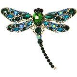 EVER FAITH® Dragonfly Gold-Tone Teardrop Pendant Brooch Green Austrian Crystal A11932-12