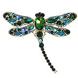 EVER FAITH® Broche Animale Libellule Cristal Autrichien Elégant Mignonne Vert Ton d'Or A11932-12