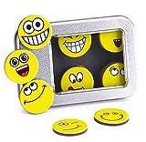 Smiley-Magnete (32 St;ø 2,5 cm), stark haftende Flach-Magnete, Kühlschrank-Magnete, Belohnungs-Magnete, extra großes Set für jeden Tag im Monat Gute Laune