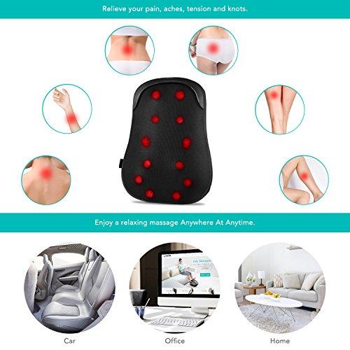Risultati immagini per Naipo Cuscino Massaggiante Elettronico Massaggiatore Cervicale Shiatsu con Funzione di S-Track, Massaggio di Thai Passo e Calore per Tutta, Alta e Bassa della Schiena e Vita