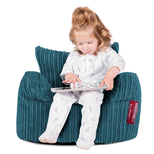 Lounge pug®, poltrona sacco per bambini, pouf, corda classica - egeo blu