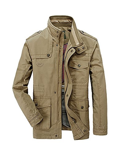 Keral Homme Casual Solid Button Blouson Zip Manteau Kaki