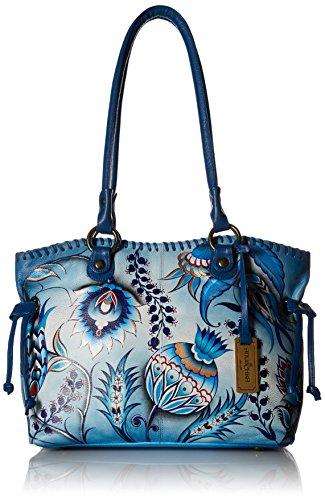Anuschka handbemalte Ledertasche, Mode Schultertasche für Damen, Geschenk für Frauen, Handgefertigte Taschen mit Kordelzug, Große Handtasche Shopper(Bewitching Blues 569 BWB)