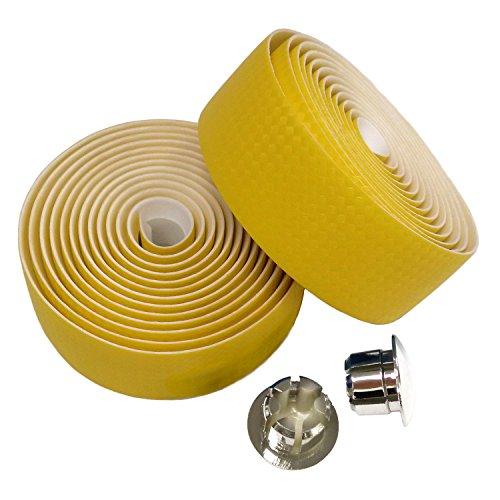 KINGOU Carbon Faser PU Leder Road Bike Lenkerband Bar Tapes-2pro Set, gelb -