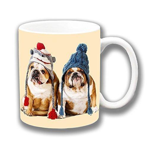 Bulldog Inglese Wooly Cuccioli Cappelli Ceramica Tazza, usato usato  Spedito ovunque in Italia