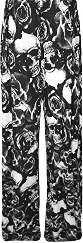 WearAll - Übergröße Damen Blumen Druck Weite Bein Palazzo Hosen - 11 Mustern - Größen 44-54 Skull Roses