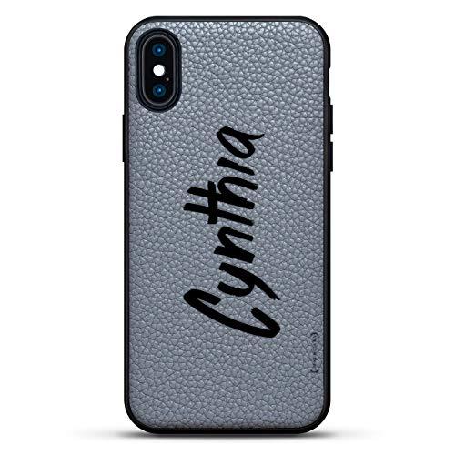 Name: Cynthia, handgeschriebener Stil, luxuriöse Leder-Serie, Slim Edition, Rückseite aus echtem Leder und 3D-Druck für iPhone XS/X (5,8 Zoll), Steingrau Cynthia Leder