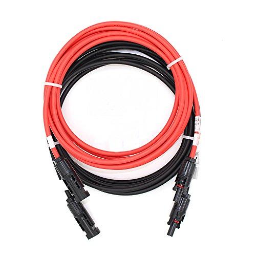 nuzamas Paar 5m 4.0mm Single Core Verlängerung Kabel mit MC4Steckern (männlich und weiblich) für Solarzellen und Solar Power Systems 5Meter (16Füße) Kabel mit MC4Stecker beide Enden
