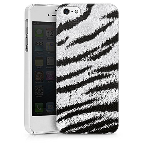 Apple iPhone X Silikon Hülle Case Schutzhülle Weißes Tiger Fell Look Muster White Animal Print Hard Case weiß