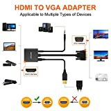 aROTaO Active HDMI to VGA Adapter with 3.5mm Audio Jack and Micro USB Power Port, HDMI Female to VGA Male Converter Compatible for TV Stick, Raspberry Pi, Xbox 360, Xbox One, PS4, PS3, Laptop etc.