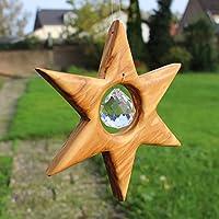 Stern Fenster Fensterdeko zum Aufhängen | Weihnachtsstern aus Holz mit Kristall | Fensterdeko aus Holz | Deko Sterne hängend Größe S