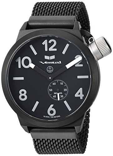 Vestal 'Canteen Metal' Quartz Stainless Steel Casual Watch, Color:Black (Model: CNT453M06.MBKM)