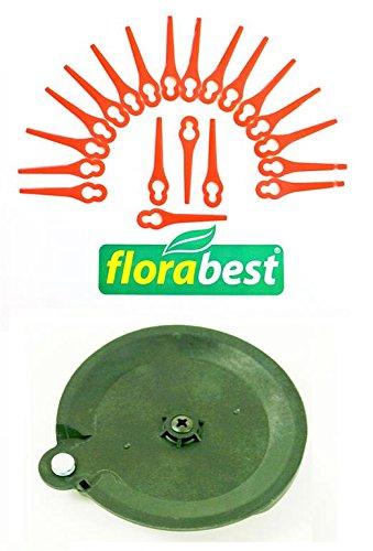20 Messer & 1 Schneidscheibe für Ihren Florabest LIDL Akku Rasentrimmer FAT 18 B2 IAN 95940 (Schneidplättchen, Plastik Messer Messerchen Plaste PA6)