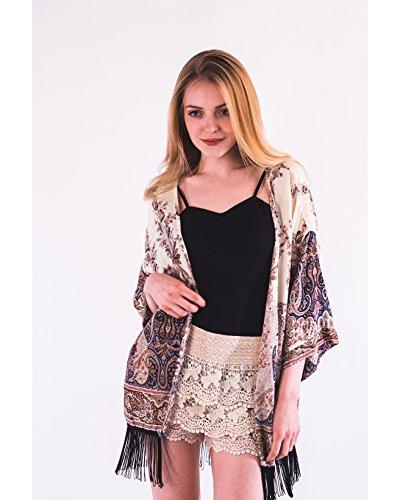 Lady Paisley Azteken Print Baumwolle Fransen Kimono Cardigan Top Urlaub Strand tragen, Beige - Blau, one_size (Kimono Tragen)
