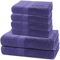 DecoKing Juego de 6 Toallas Algodón 4 Toallas 50x100 cm 2 Toallas 70x140 cm Absorbente Violeta