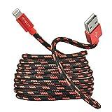 Zoresyn 2m/6.6ft Apple MFi zertfiziert Lightning USB langes Kabel Nylon umflochtenes Ladekabel und Aluminium Steckverbinder für iPhone iPad iPod (Rot mit Schwarz)