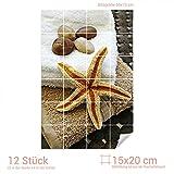 Graz Design 761032_15x20_50 Fliesenaufkleber Fliesensticker Sticker für Badezimmer Seestern Steine Handtuch (Fliesenmaß: 15x20cm (BxH)//Bild: 50x75cm (BxH))