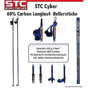 STC Cyber 60% Carbon Langlaufstock Skating Roller Stöcke Rollski Skiroller Stöcke Skike 165 cm