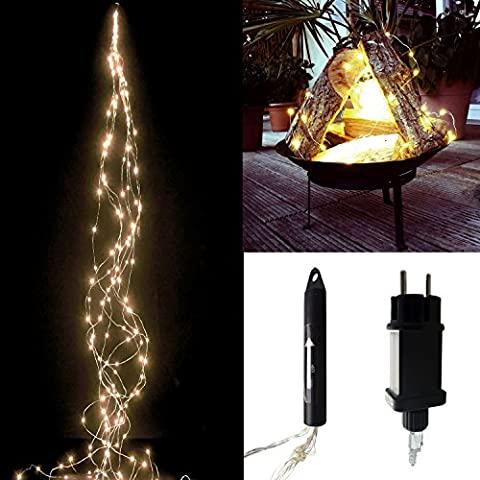 LED Lichterkette Lichterbündel Draht warmweiß biegsam mit Netzstecker 220 V mit 64 LED oder 100 LED oder 200 LED oder 300 LED (64