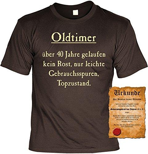 Witziges Geburtstags-Spaß-Shirt + gratis Fun-Urkunde: Oldtimer über 40 Jahre gelaufen Braun
