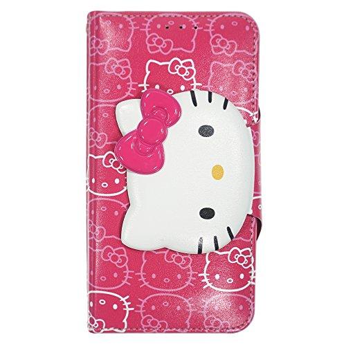 WiLLBee Galaxy S9Plus Case Süße Hello Kitty Tagebuch Wallet Flip Synthetisches Leder/Stoßdämpfung/Trageriemen im lieferumfang [Samsung Galaxy S9Plus] Cover, Button Face Hot Pink (Galaxy S9 Plus)