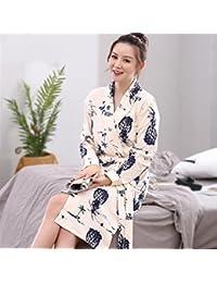 Doux confortable Femmes Filles Manches Longues Peignoir Ananas Motif Coton Chemise de Nuit Pyjamas Cardigan Peignoir Peignoir pour femme (Couleur : Beige, Taille : XL)