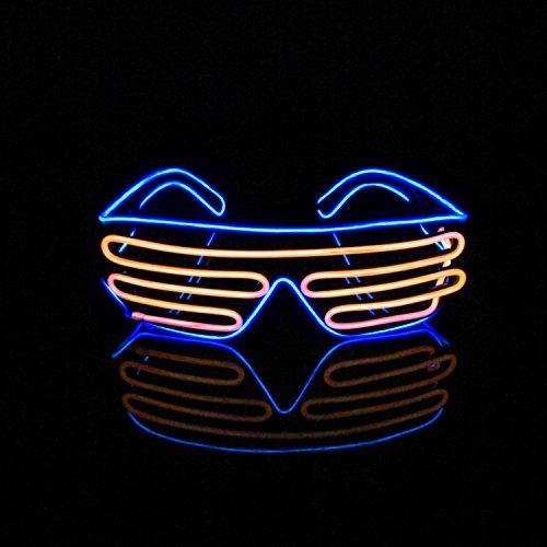Lerway EL Wire LED Party Brille 2 Bicolor Drahtbrille Spass Partybrillen Bunt Gitterbrille Leuchtstab Brillen mit Batterie Box für Karneval Rave, Nachtclubs Fest, Geschenk (Orange + Blau) (Shutter Shade Brille)