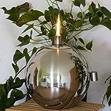 EDELSTAHL Kugel Öllampe -  12,5 cm - Edelstahlfackel für Garten, Terrasse oder Balkon - Öl Fackel - Ölfackel - Gartenfackel - Kugelleuchte - Gartenkugel