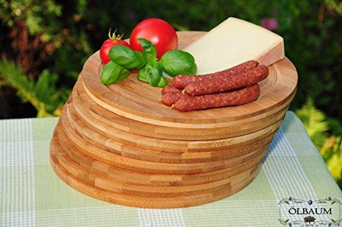 8x Picknick-/Brotzeitbrett, Käsebrett Frühstücks-Servierbrett, dunkles Bambus massive Holz-Picknick-Set / Picknicksets, hochwertige ca. 30cm x 1,2 cm starke Picknick-Holzbrett rund - oval / abgerundete Kanten, Holzbrettchen groß rund, klassisch mit Rillung natur Maße rund je ca. 30 cm Durchmesser als Kräuterbrett, Picknick-/Brotzeitbrett, Bayerisches Picknick-/Brotzeitbrettl, NEU MASSIVE Picknick-Set Schneidebretter, Steakteller schinkenbrett rustikal, Schinkenteller von BTV
