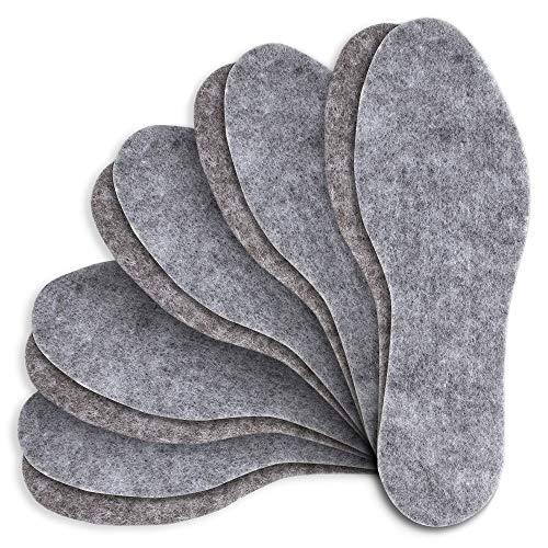 5 Paare Filz Einlegesohlen extra dicke 6 mm Schuheinlagen Filzsohlen Große 28 - 46, Grau, 46