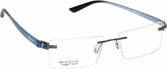 Redex Unisex Rimless Rectangle Eyewear Spectacle Eye Frame Reading Eyeglasses (Medium, Blue, 551)