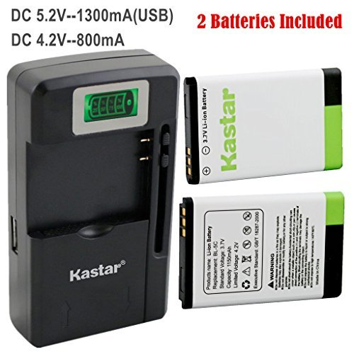 Kastar BL-5C Battery (2-Pack) and intelligent mini travel Charger ( with high speed portable USB charge function) for NOKIA 1100 2112 2270 2280 2285 2300 2600 2850 3100 3105 3120 3600 3620 3650 3660 5140 6108 6280 5030 5130 6030 6085 6086 6230 6230i 6267 6270 6555 6600 6630 6670 6680 6681 6820 6822 7600 7610 E50 E60 N70 N70 MusicEdition N71 N72 N91 N91 8GB N-Gage XpressMusic Degen and Meloson Port  available at amazon for Rs.4099
